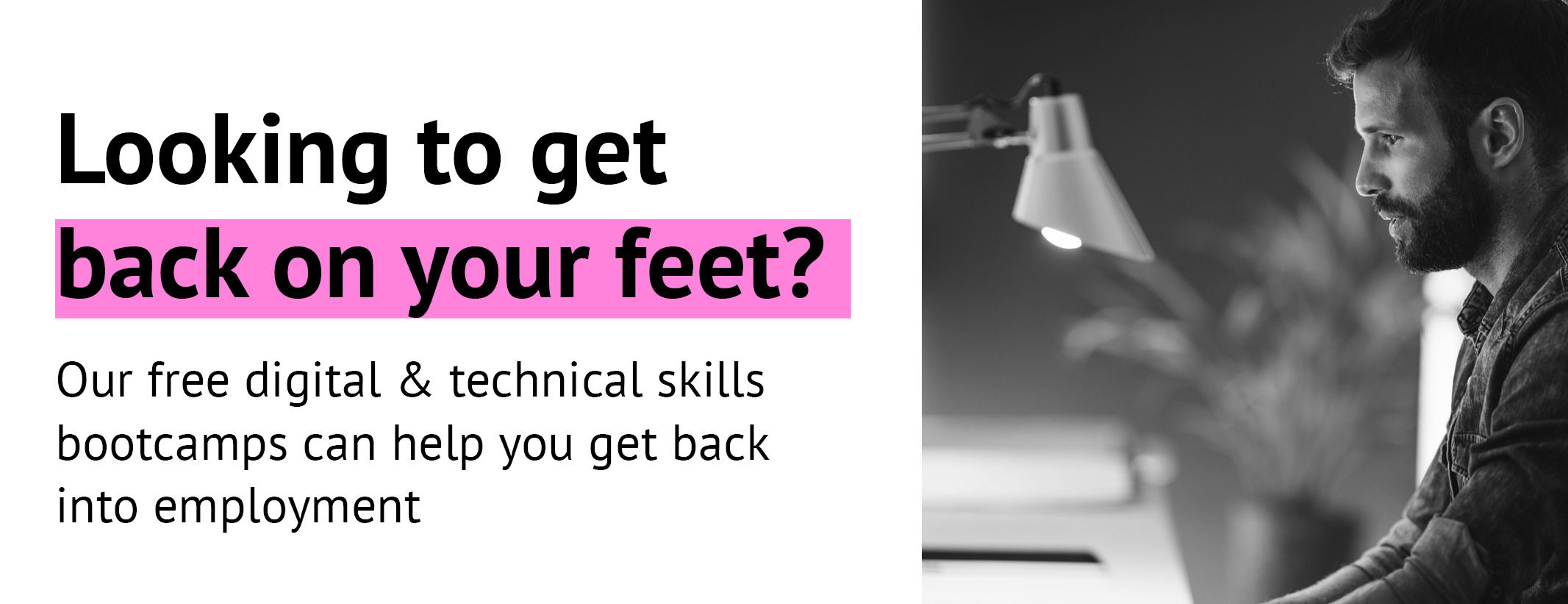 Looking to get back on your feet? WYCA Skills Bootcamps - Man studies from his laptop